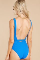 7 Michelle Belt Laguna Blue Solid Rib One Piece Swimsuit at reddress.com