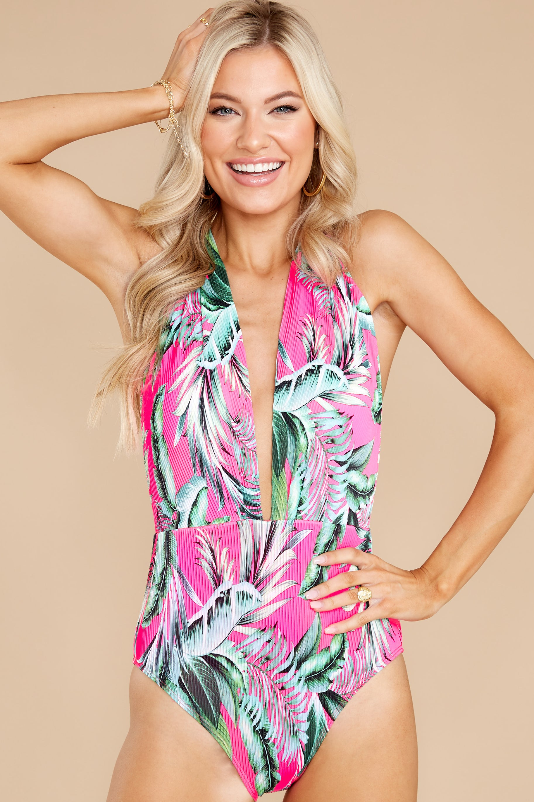 5 A Piece Of Paradise Pink Print One Piece Swimsuit at reddress.com