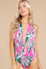 6 A Piece Of Paradise Pink Print One Piece Swimsuit at reddress.com