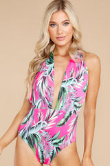 1 A Piece Of Paradise Pink Print One Piece Swimsuit at reddress.com