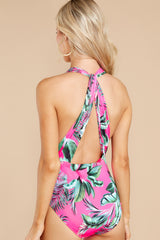 7 A Piece Of Paradise Pink Print One Piece Swimsuit at reddress.com