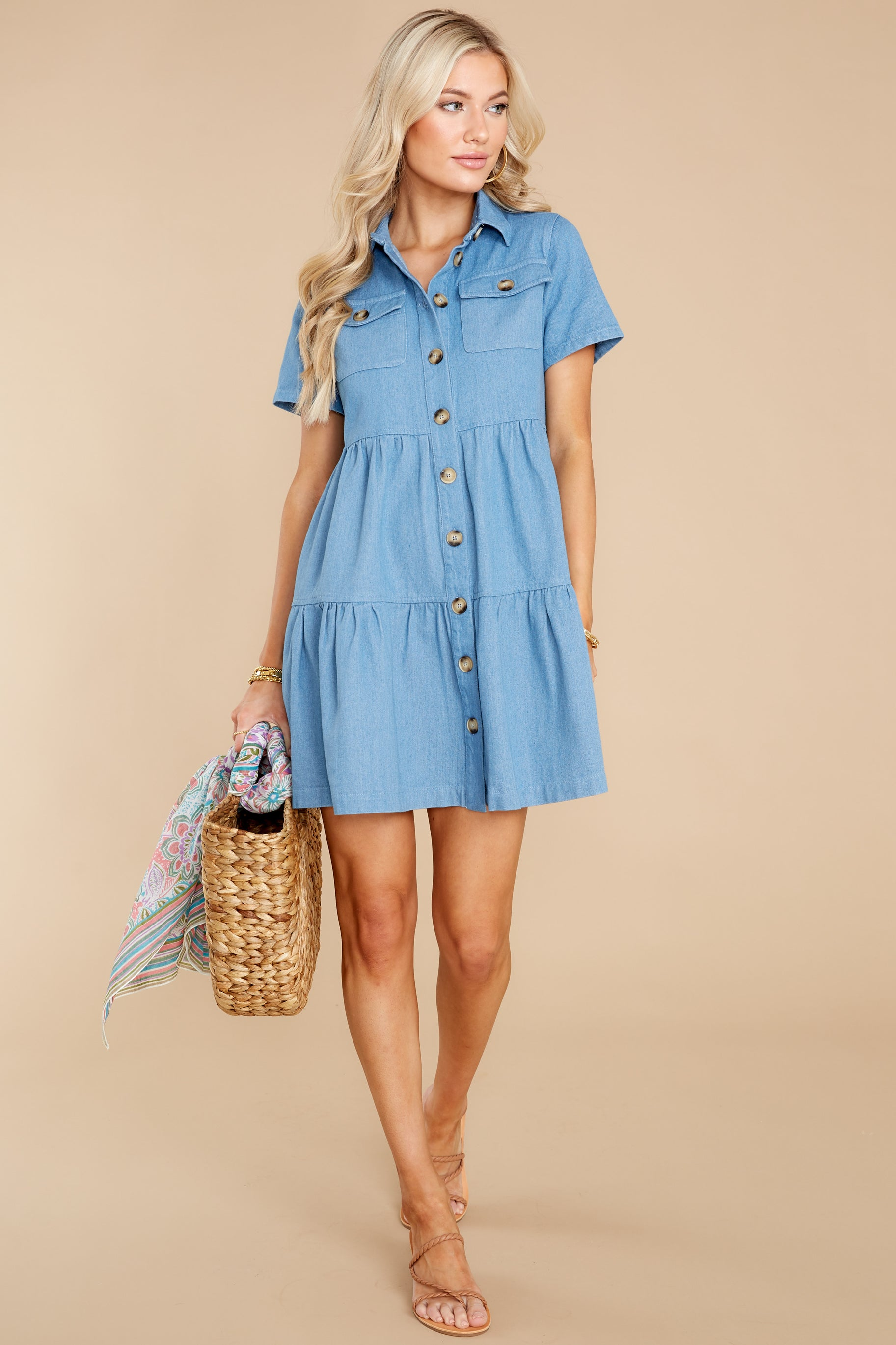 3 Love Deeply Chambray Button Up Dress at reddress.com