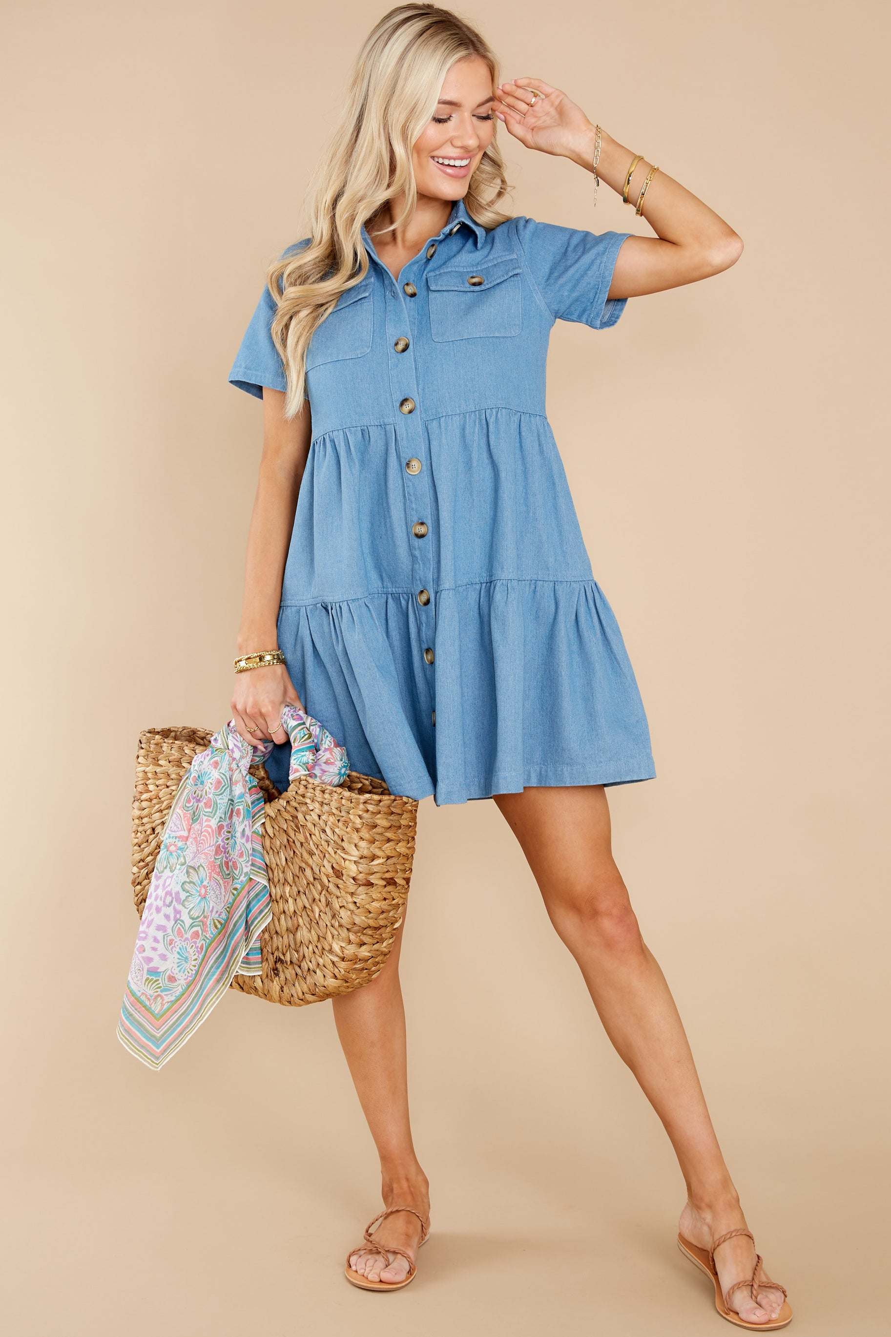 4 Love Deeply Chambray Button Up Dress at reddress.com