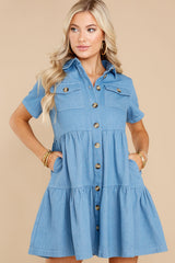 5 Love Deeply Chambray Button Up Dress at reddress.com