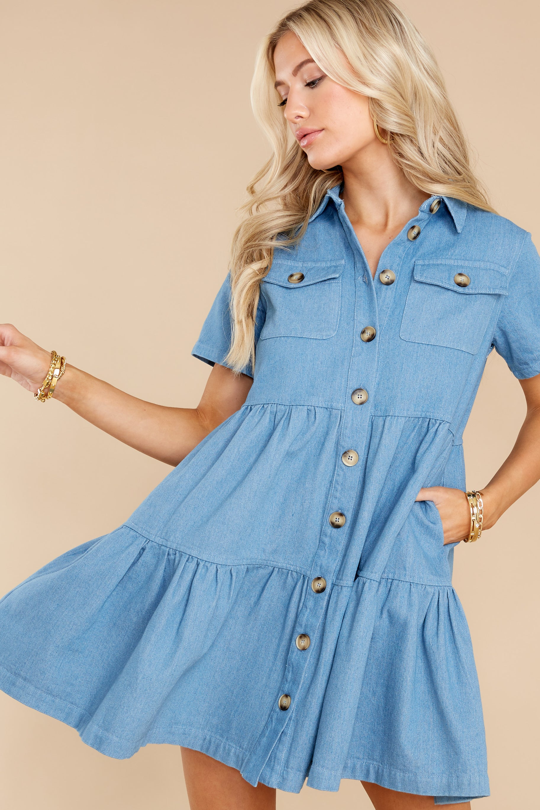 6 Love Deeply Chambray Button Up Dress at reddress.com