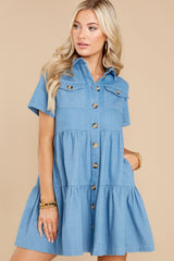 7 Love Deeply Chambray Button Up Dress at reddress.com