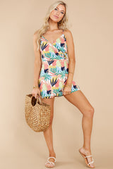 4 Gone For The Weekend White Multi Print Romper at reddress.com