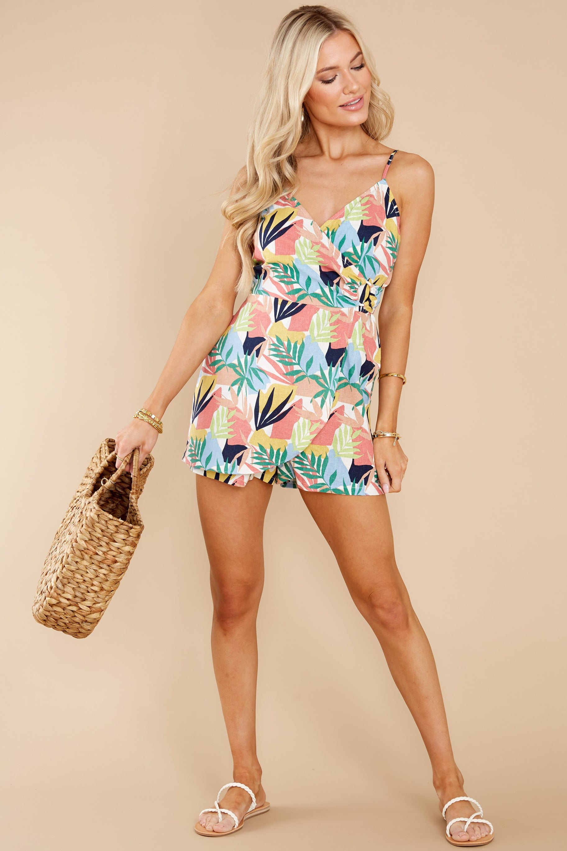 3 Gone For The Weekend White Multi Print Romper at reddress.com