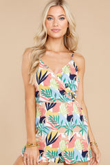 6 Gone For The Weekend White Multi Print Romper at reddress.com