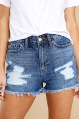 4 No Time To Waste Medium Wash Distressed Denim Shorts at reddress.com