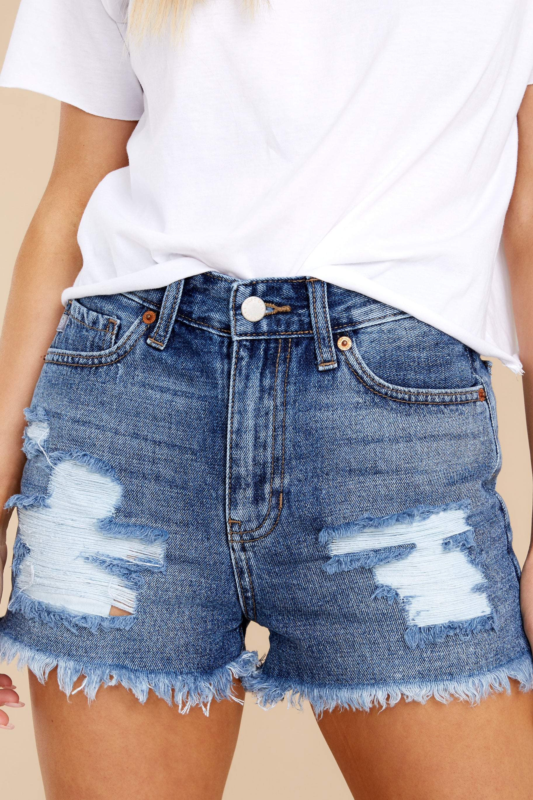 5 No Time To Waste Medium Wash Distressed Denim Shorts at reddress.com