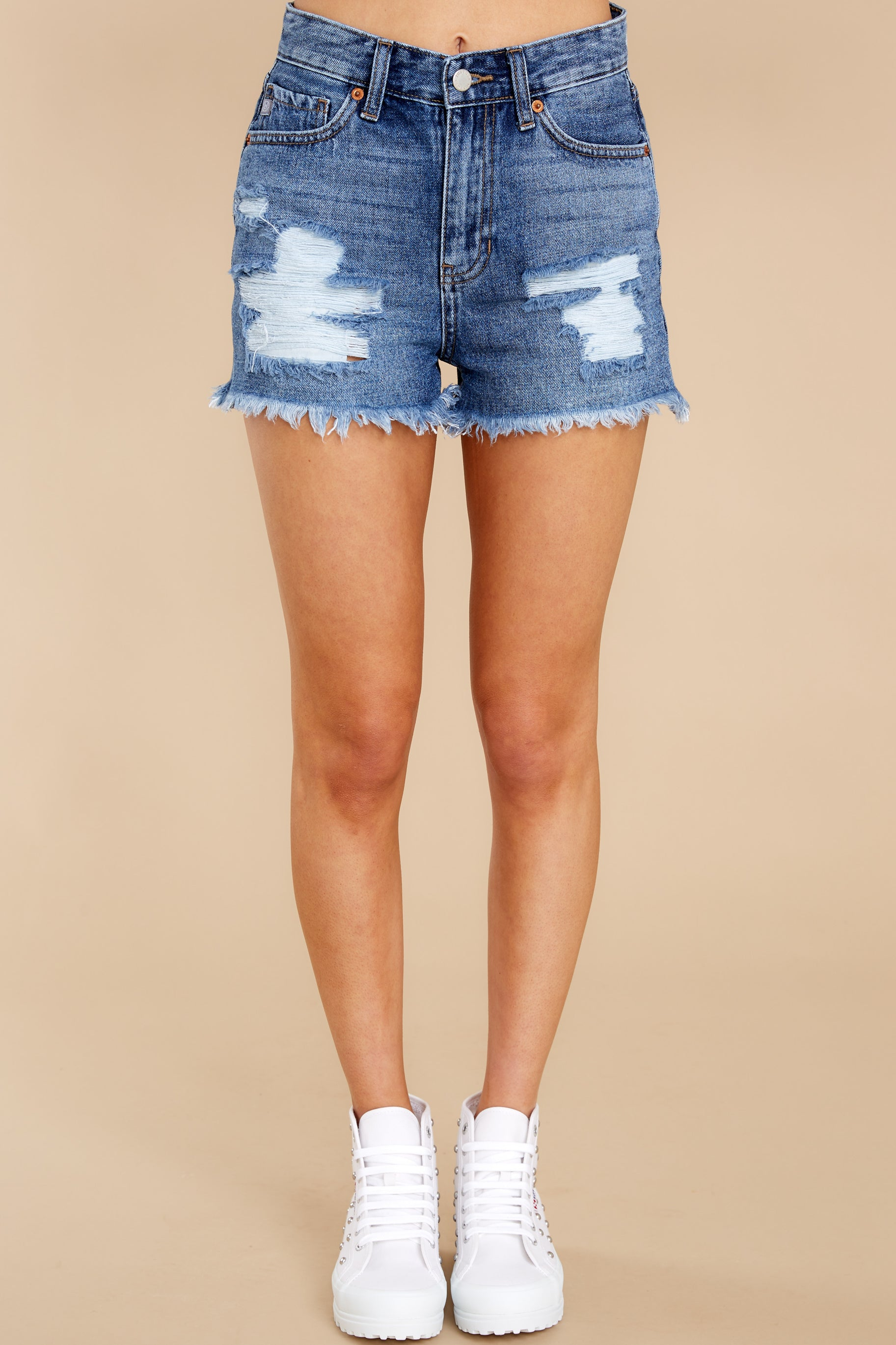6 No Time To Waste Medium Wash Distressed Denim Shorts at reddress.com