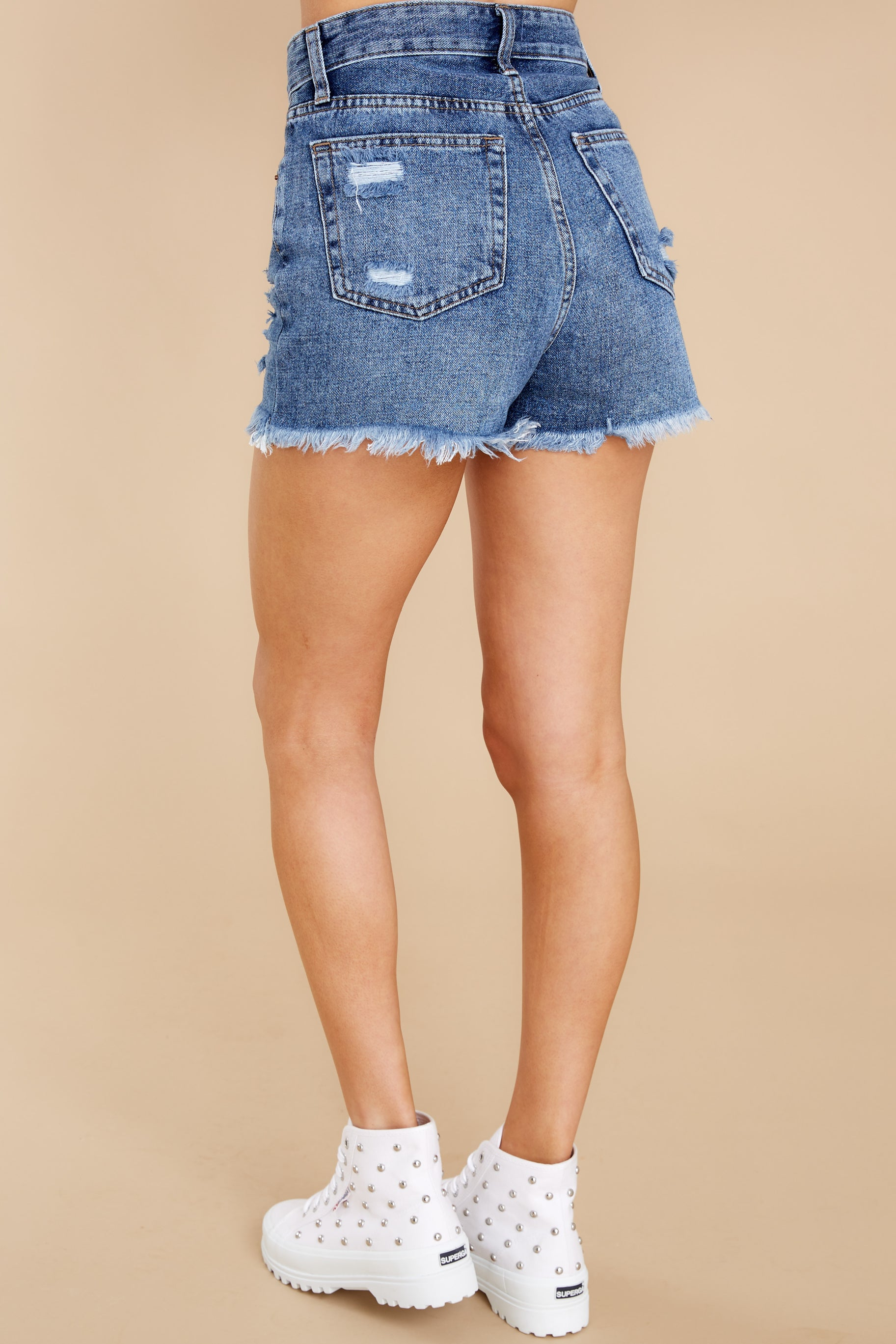7 No Time To Waste Medium Wash Distressed Denim Shorts at reddress.com