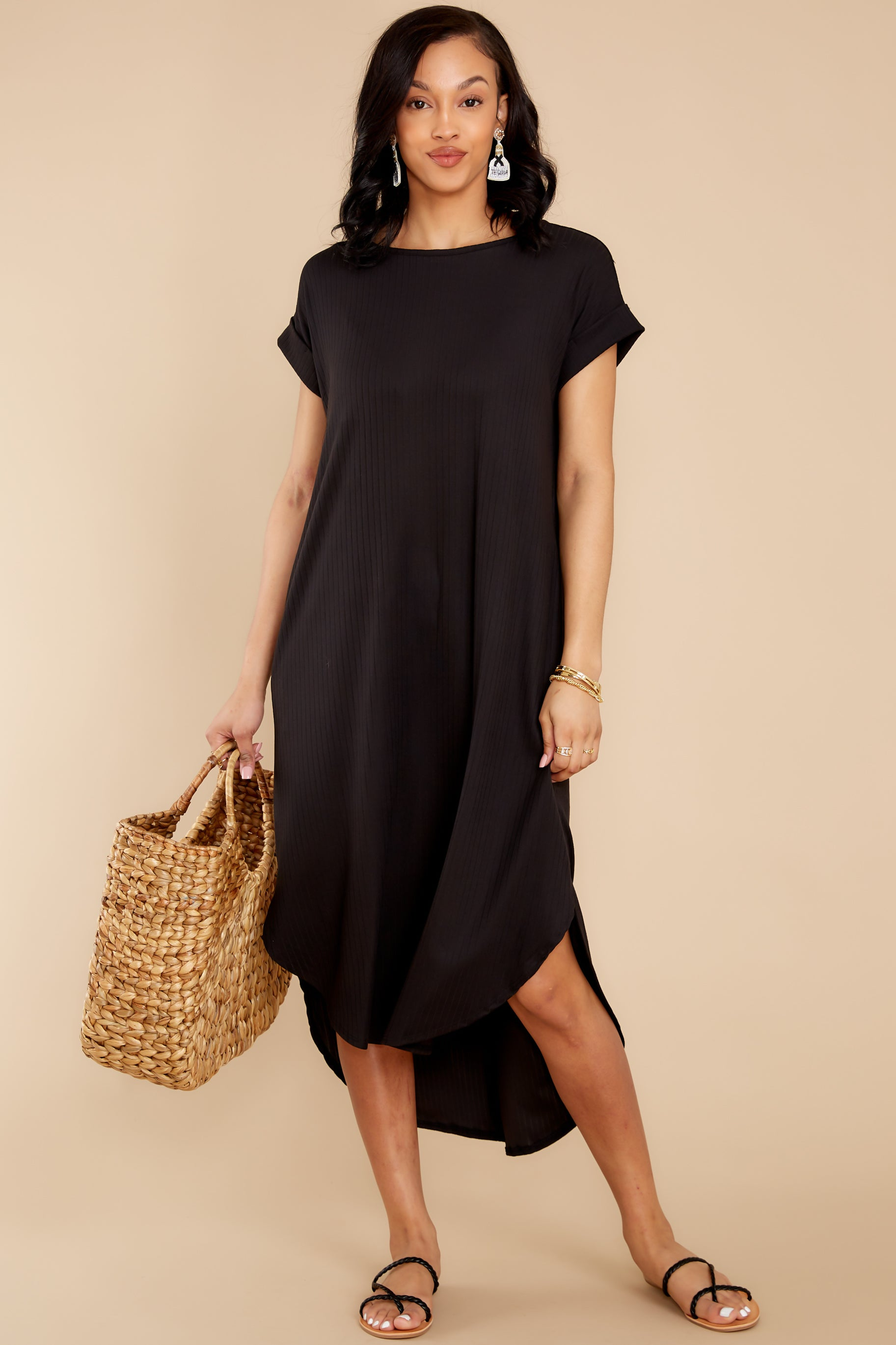 2 Come Away With Me Black Midi Dress at reddress.com