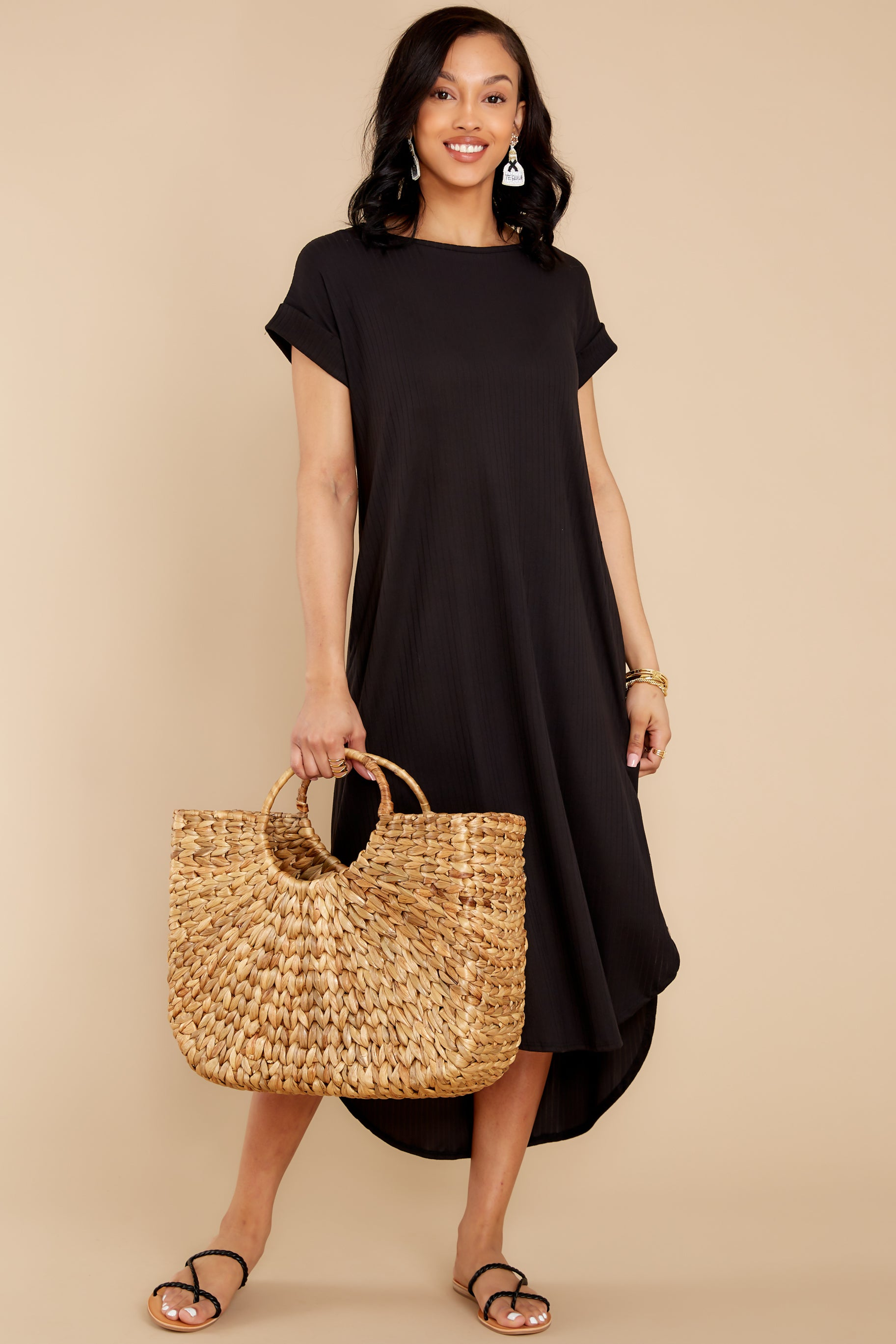 3 Come Away With Me Black Midi Dress at reddress.com