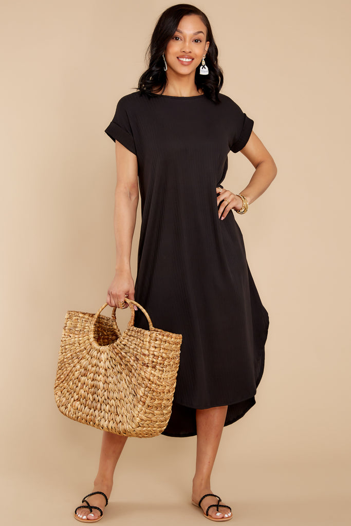 1 Creative Genius Black Midi Dress (BACKORDER JULY) at reddress.com