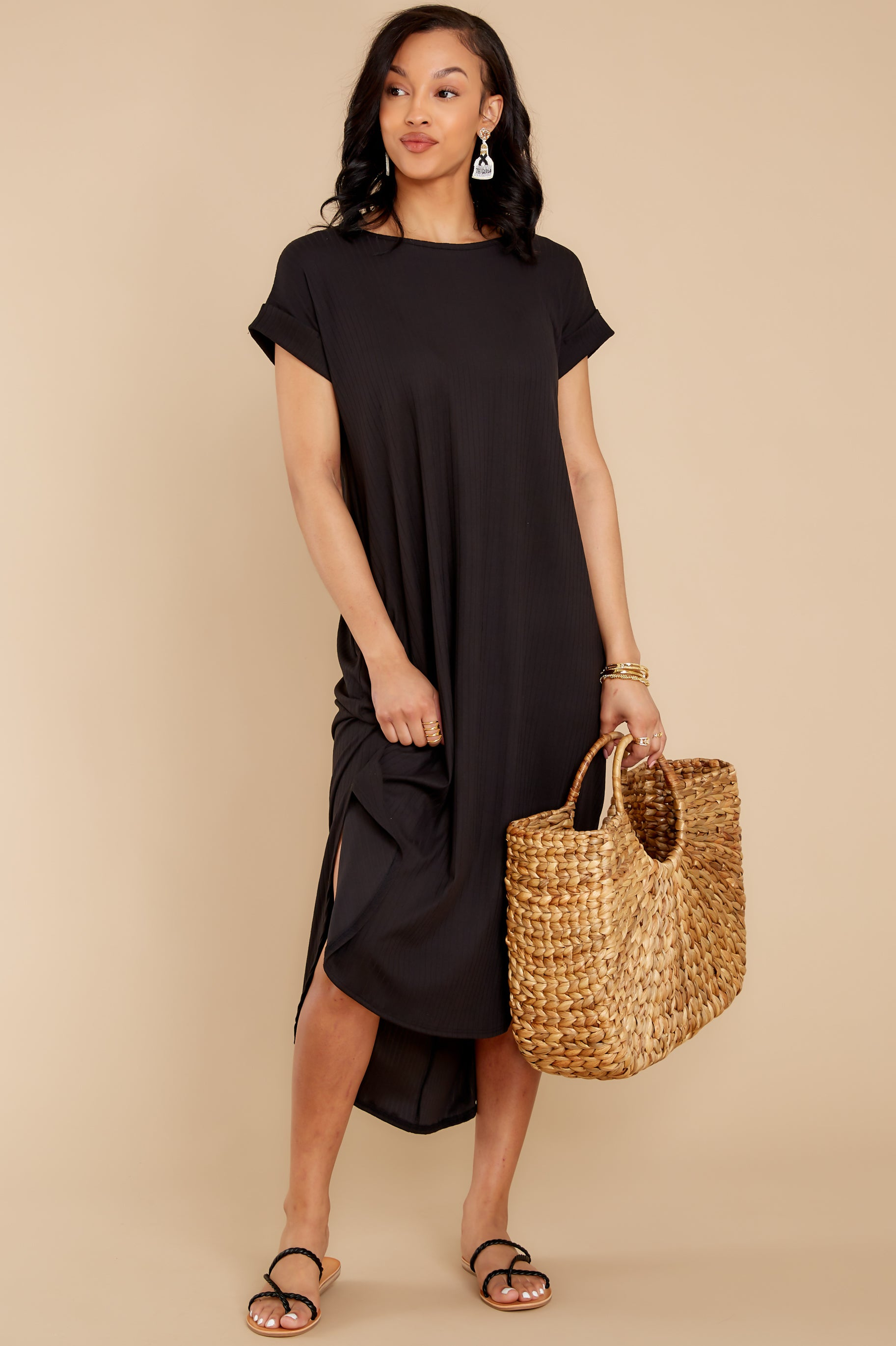 4 Come Away With Me Black Midi Dress at reddress.com