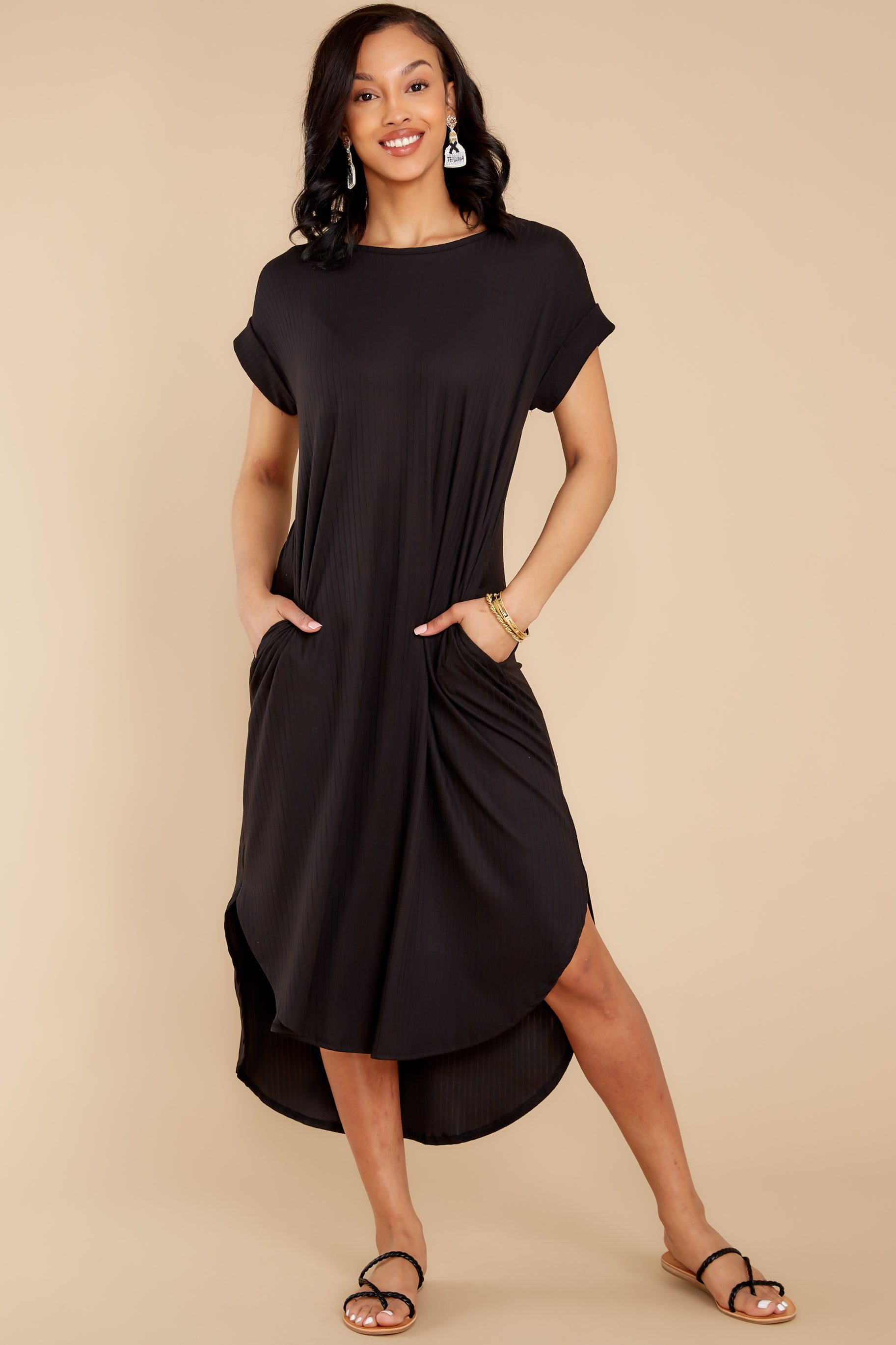 5 Come Away With Me Black Midi Dress at reddress.com