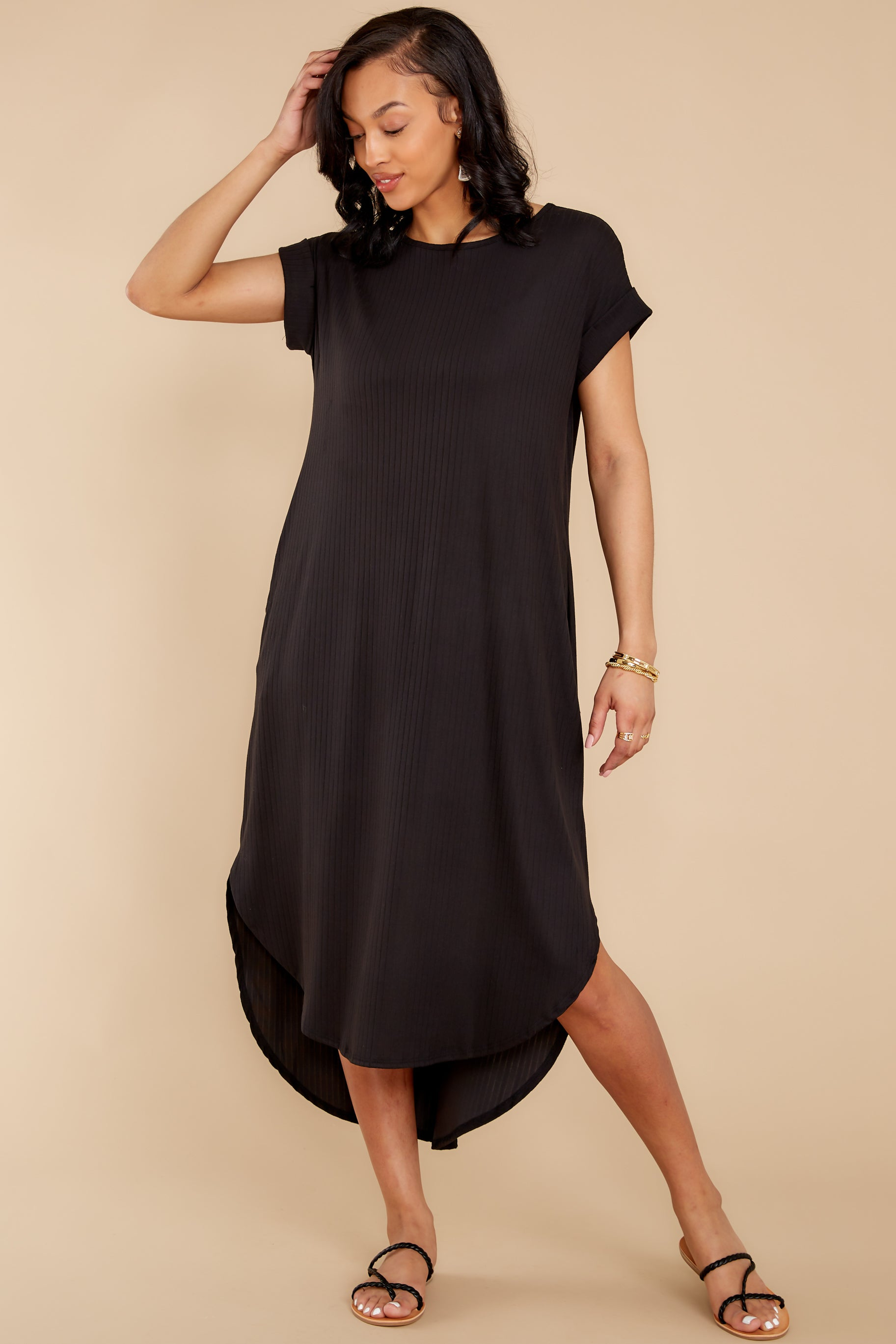 6 Come Away With Me Black Midi Dress at reddress.com