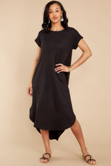 7 Come Away With Me Black Midi Dress at reddress.com