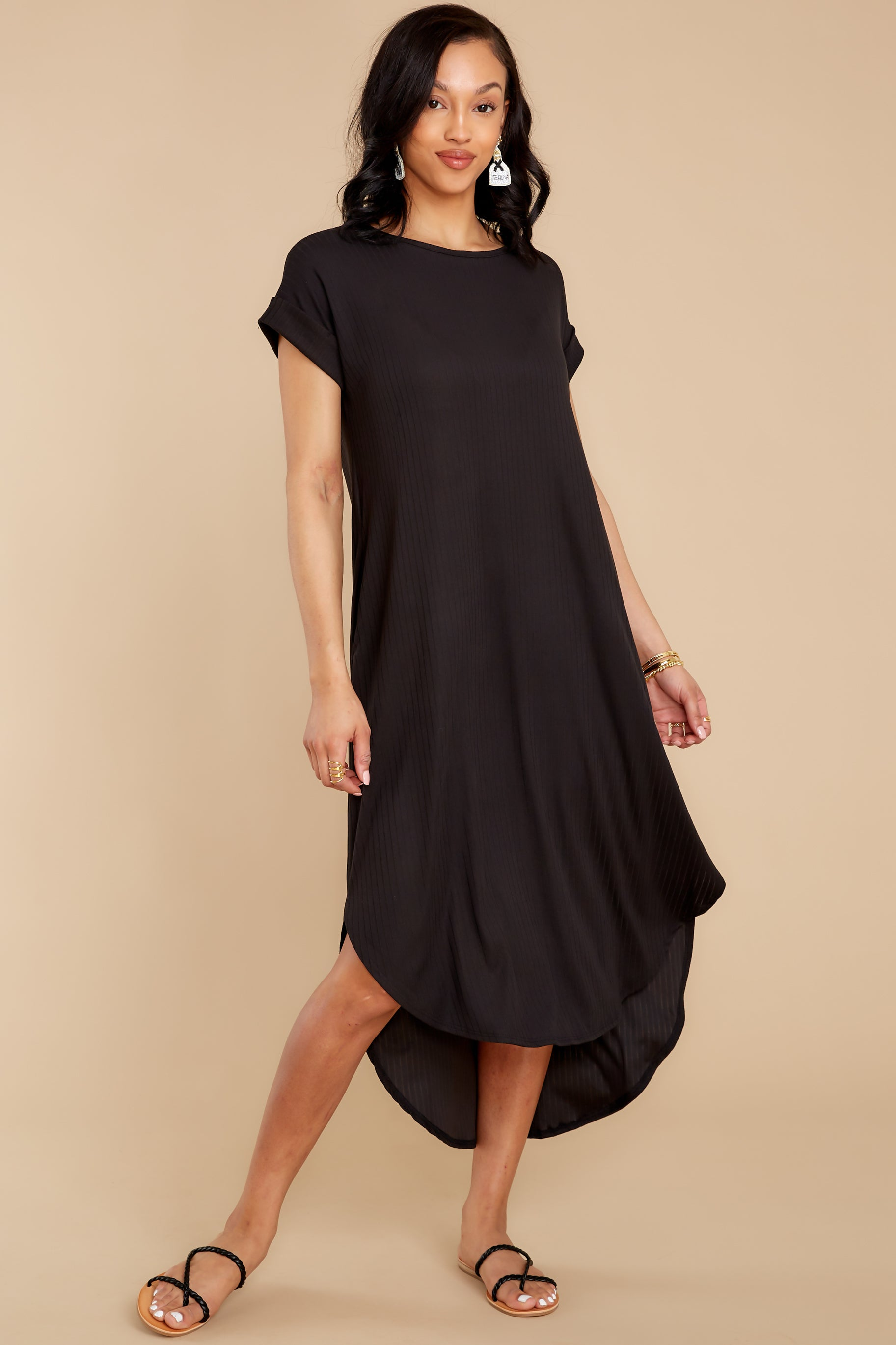 8 Come Away With Me Black Midi Dress at reddress.com