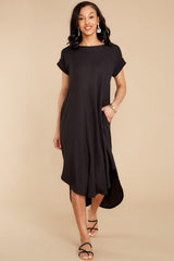 9 Come Away With Me Black Midi Dress at reddress.com