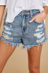 1 Summer Days Light Wash Distressed Denim Shorts at reddress.com