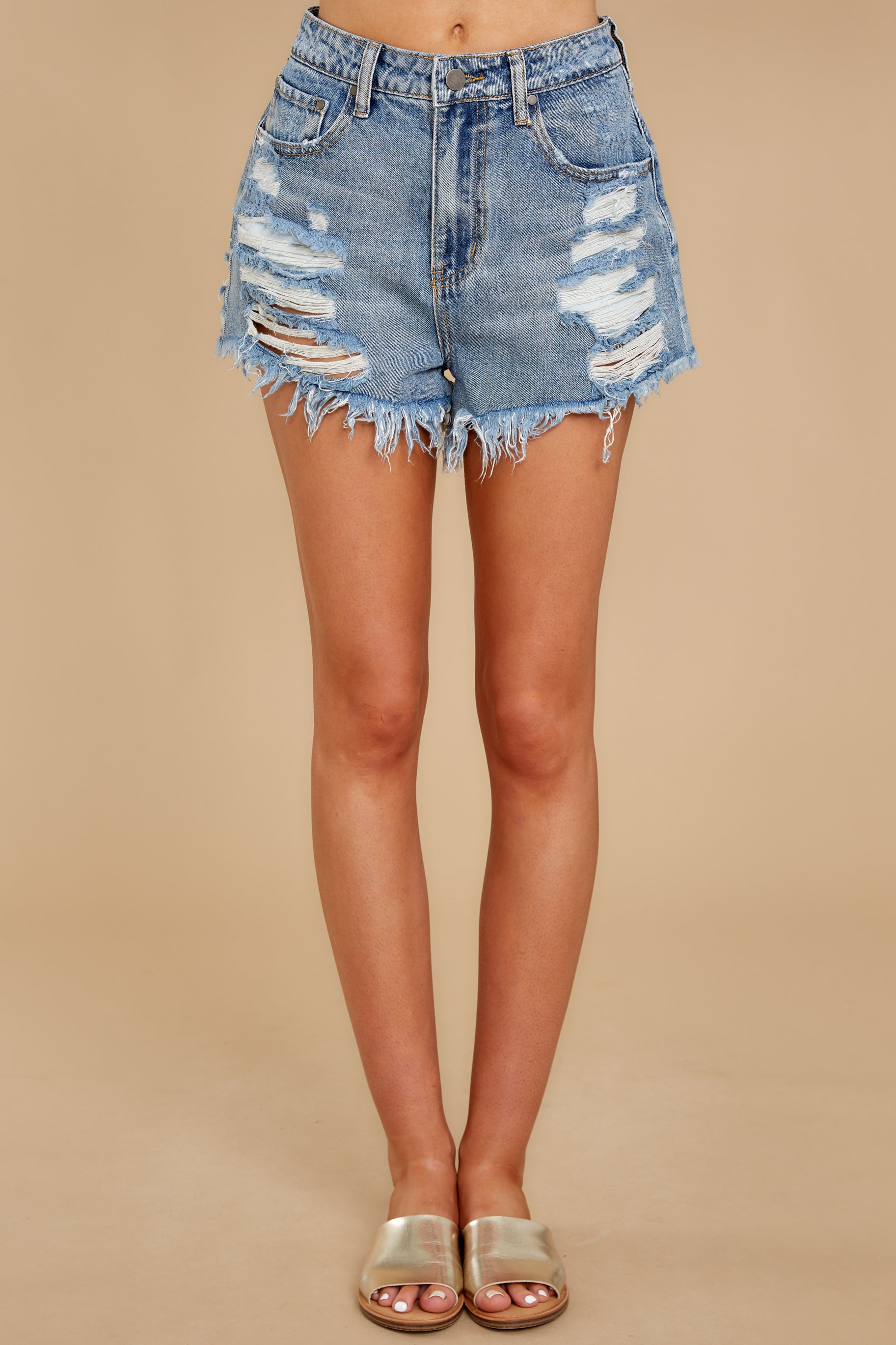 3 Summer Days Light Wash Distressed Denim Shorts at reddress.com