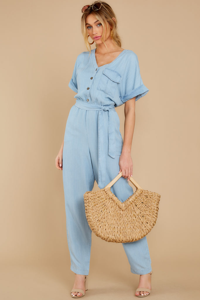 1 Walk Tall Light Chambray Blue Jumpsuit at reddress.com