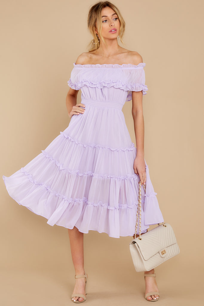 1 As She Goes Lilac Off The Shoulder Midi Dress at reddress.com