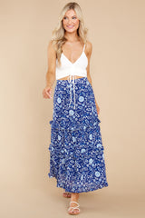 6 Lindsay Peacock Floral Indigo Skirt at reddress.com