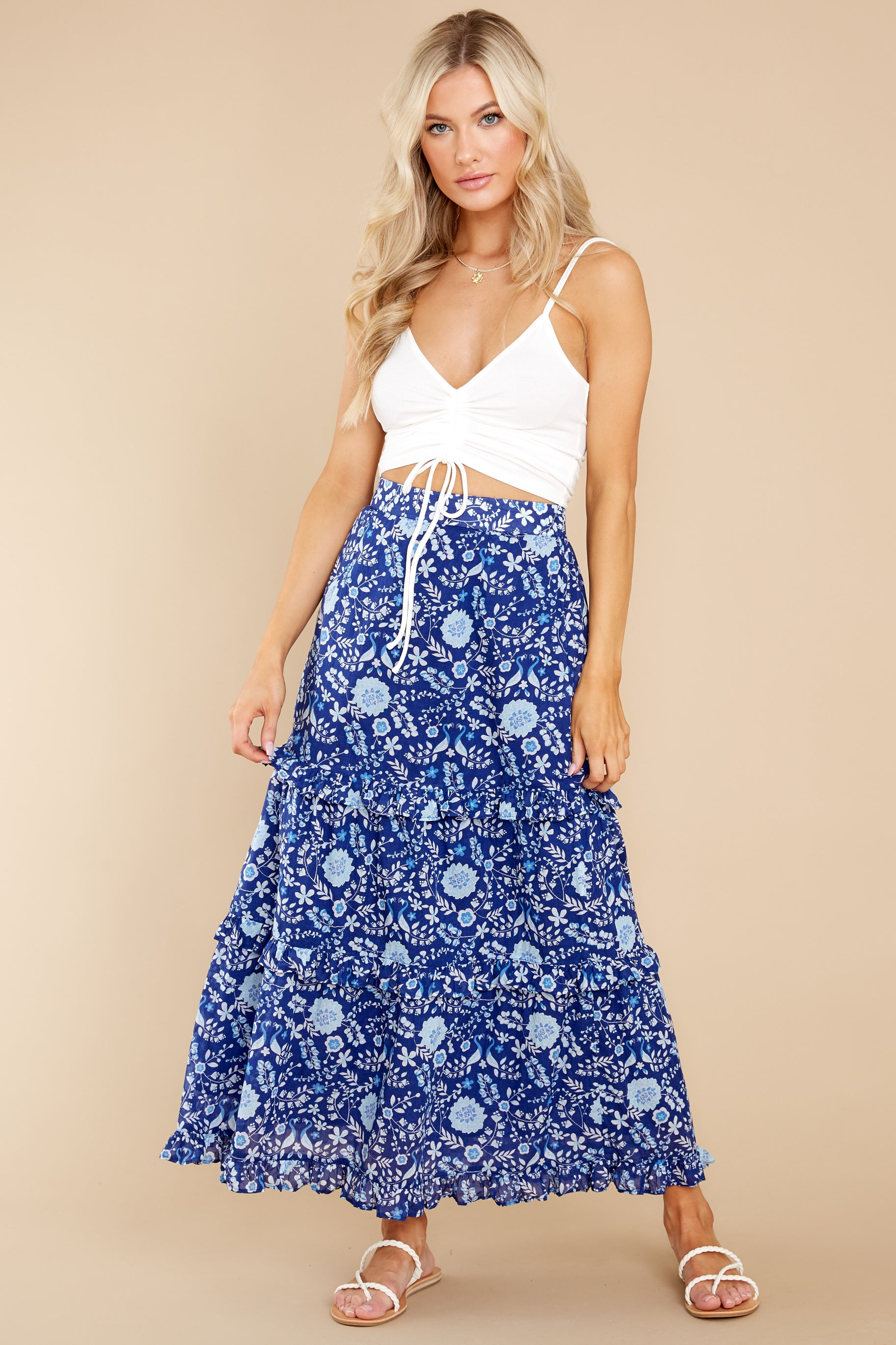 5 Lindsay Peacock Floral Indigo Skirt at reddress.com