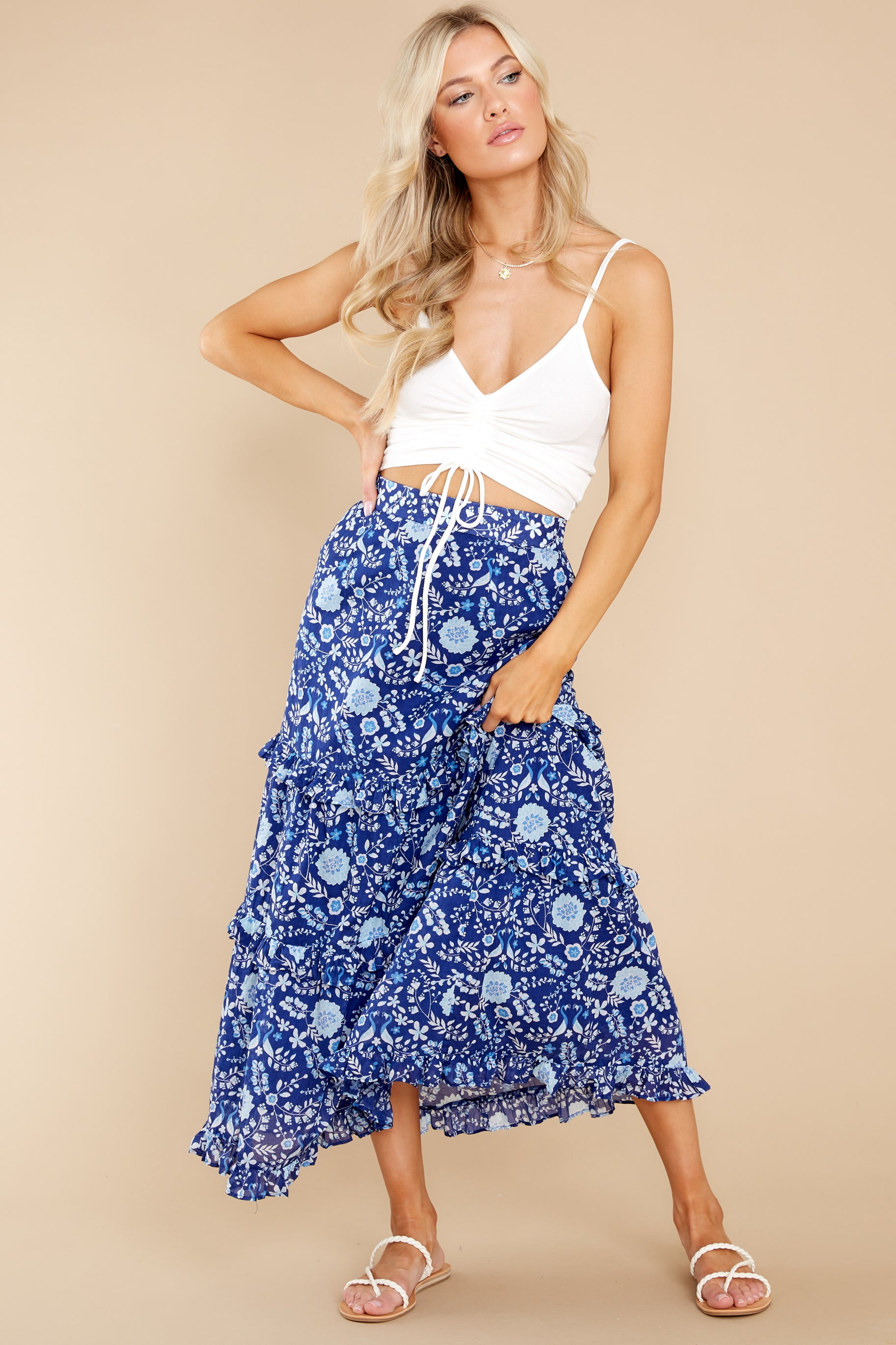 7 Lindsay Peacock Floral Indigo Skirt at reddress.com