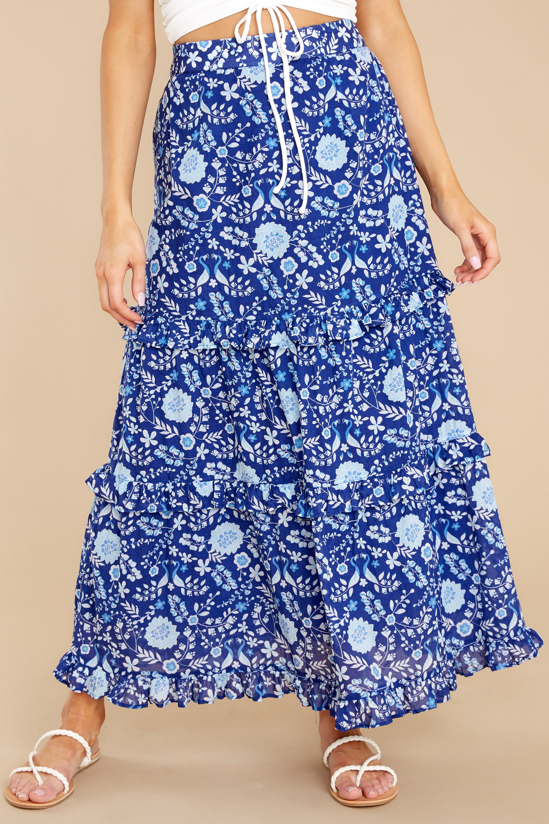 1 Lindsay Peacock Floral Indigo Skirt at reddress.com