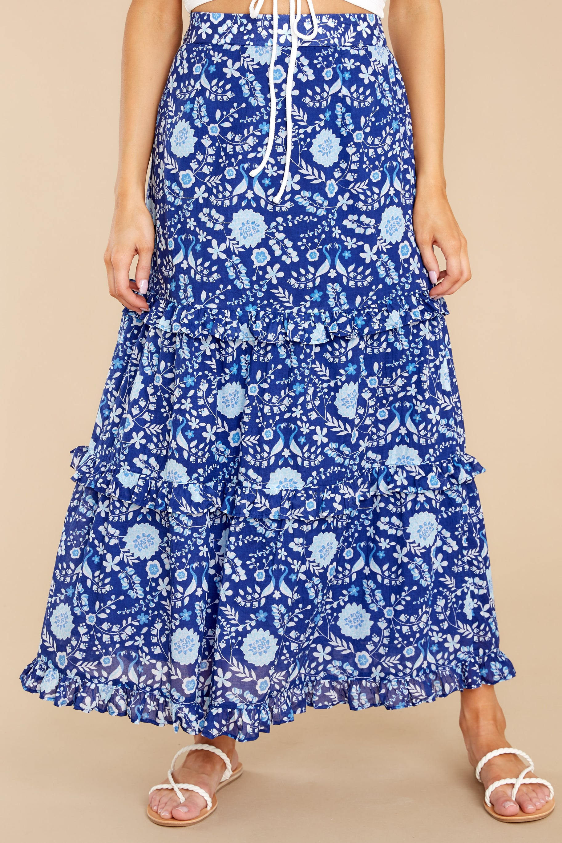 2 Lindsay Peacock Floral Indigo Skirt at reddress.com