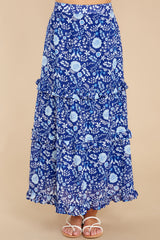 3 Lindsay Peacock Floral Indigo Skirt at reddress.com