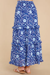 4 Lindsay Peacock Floral Indigo Skirt at reddress.com
