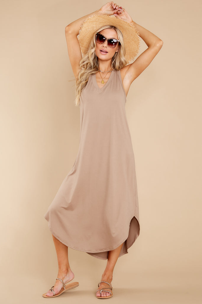 1 Just Relax Light Mocha Midi Dress at reddress.com