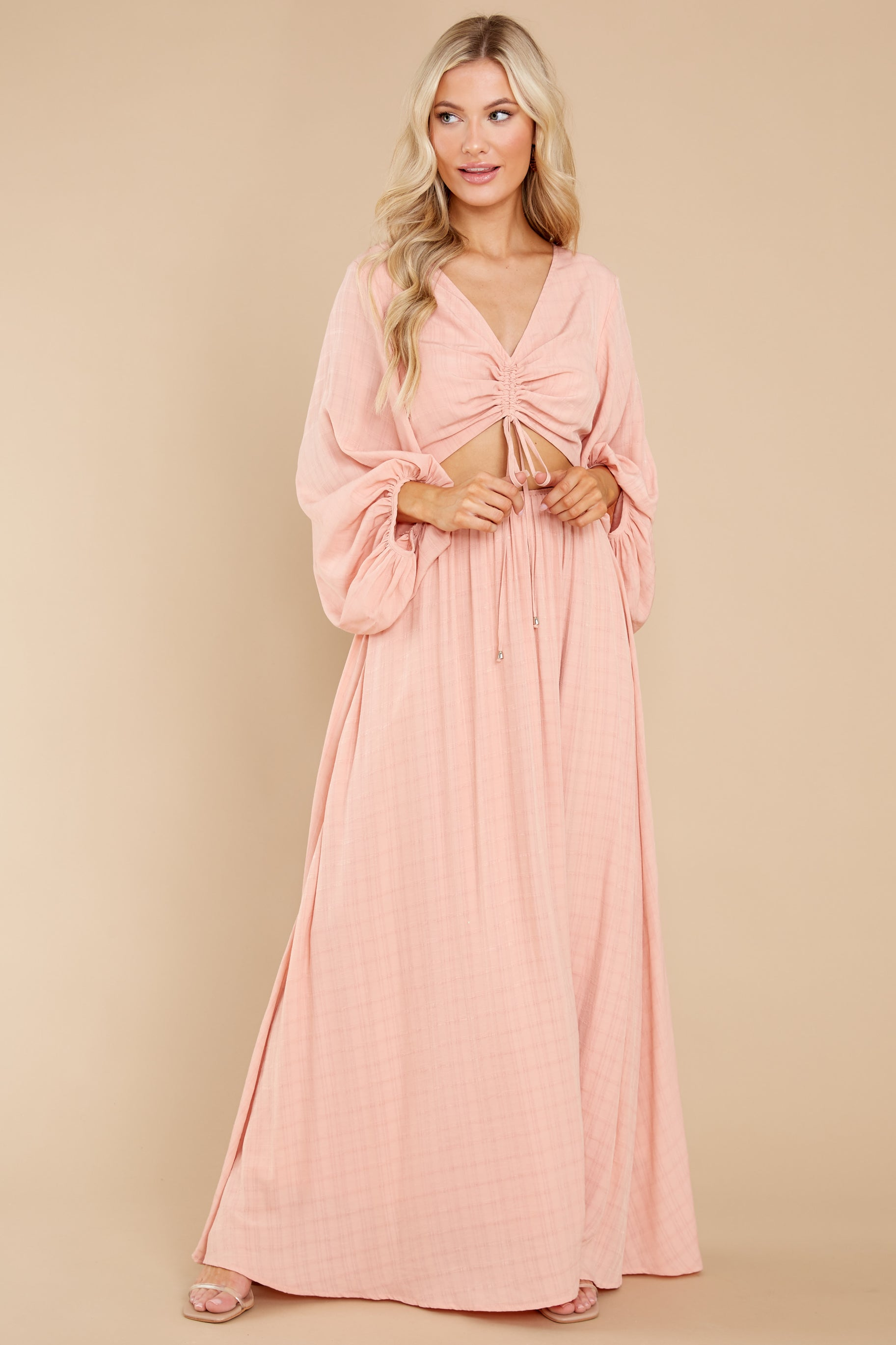 2 Going For This Peach Maxi Dress at reddress.com