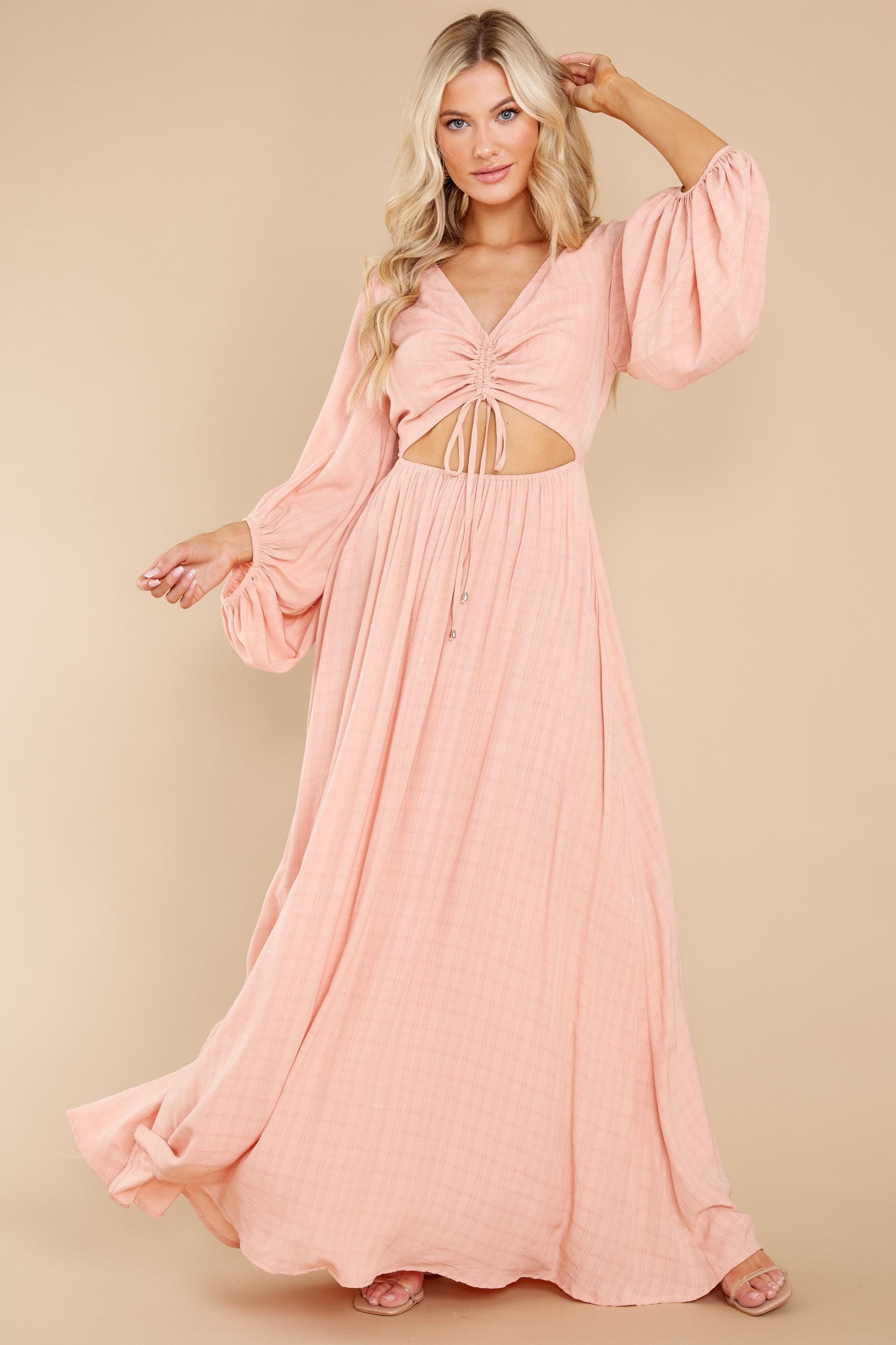 4 Going For This Peach Maxi Dress at reddress.com