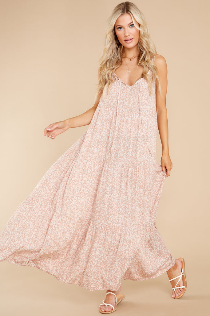 1 Around The Turn Blush Floral Print Maxi Dress at reddress.com