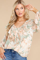 1 Wisteria Meadows Apricot And Sage Floral Print Top at reddress.com