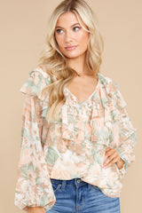 5 Wisteria Meadows Apricot And Sage Floral Print Top at reddress.com
