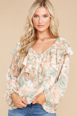7 Wisteria Meadows Apricot And Sage Floral Print Top at reddress.com