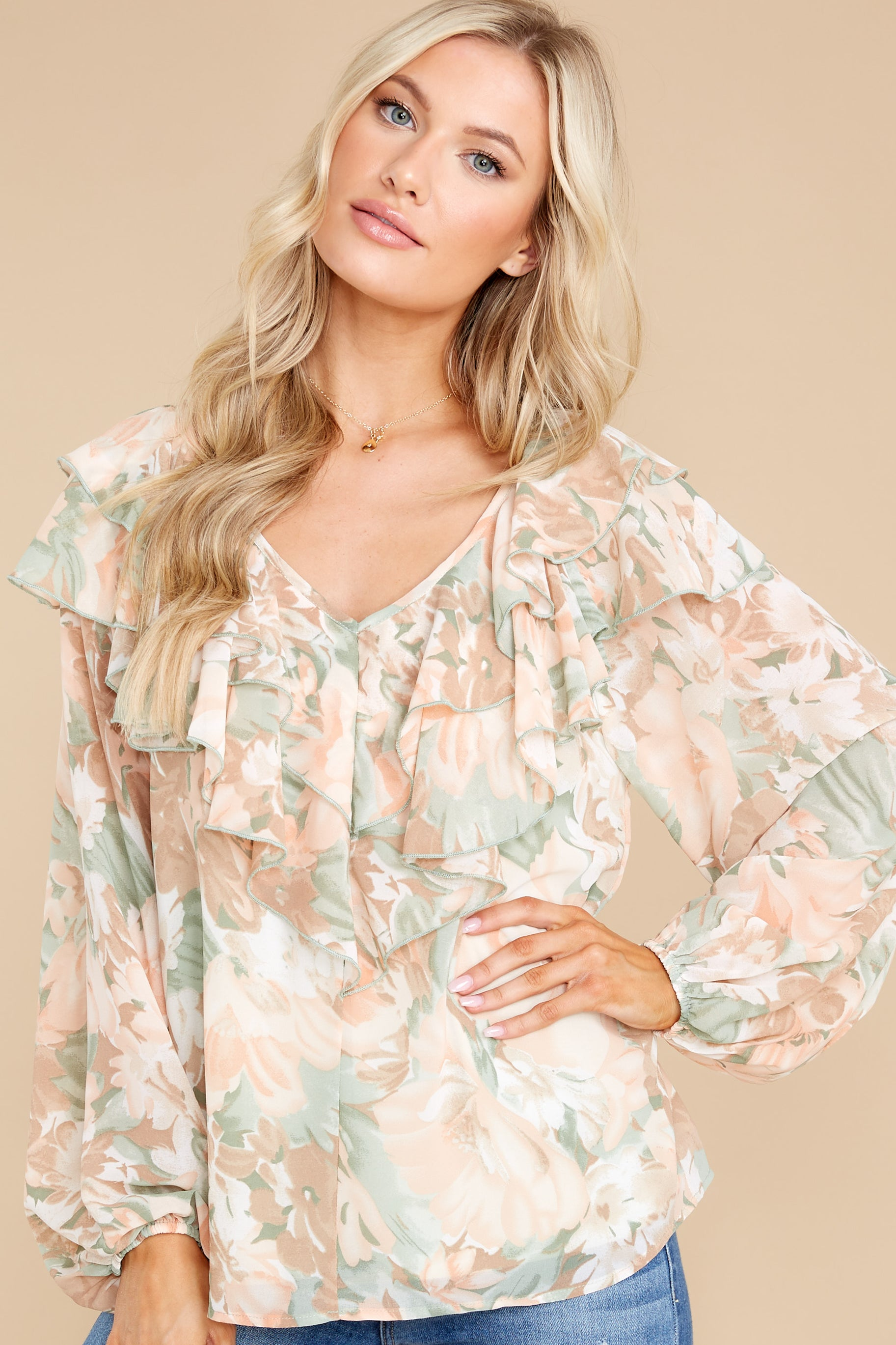 8 Wisteria Meadows Apricot And Sage Floral Print Top at reddress.com