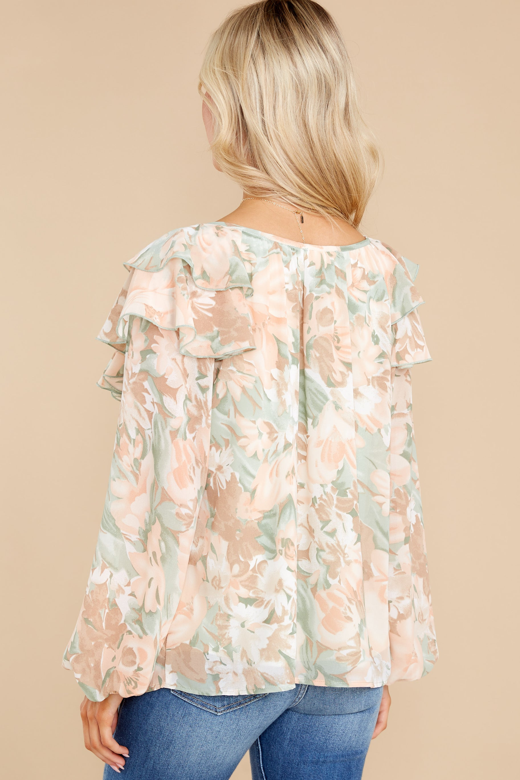 9 Wisteria Meadows Apricot And Sage Floral Print Top at reddress.com