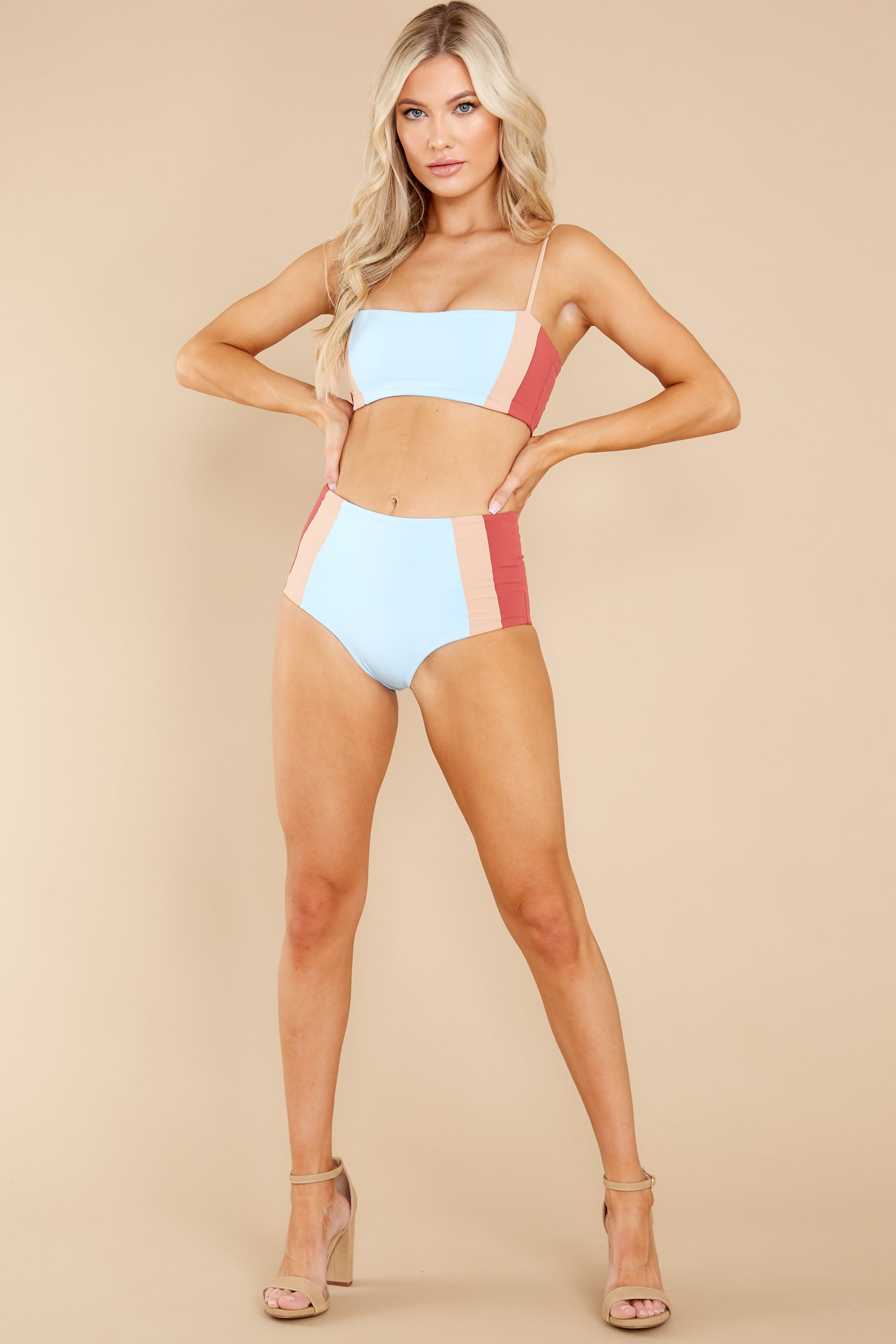 3 Rebel Heart Sky Blue And Brick Bikini Top at reddress.com
