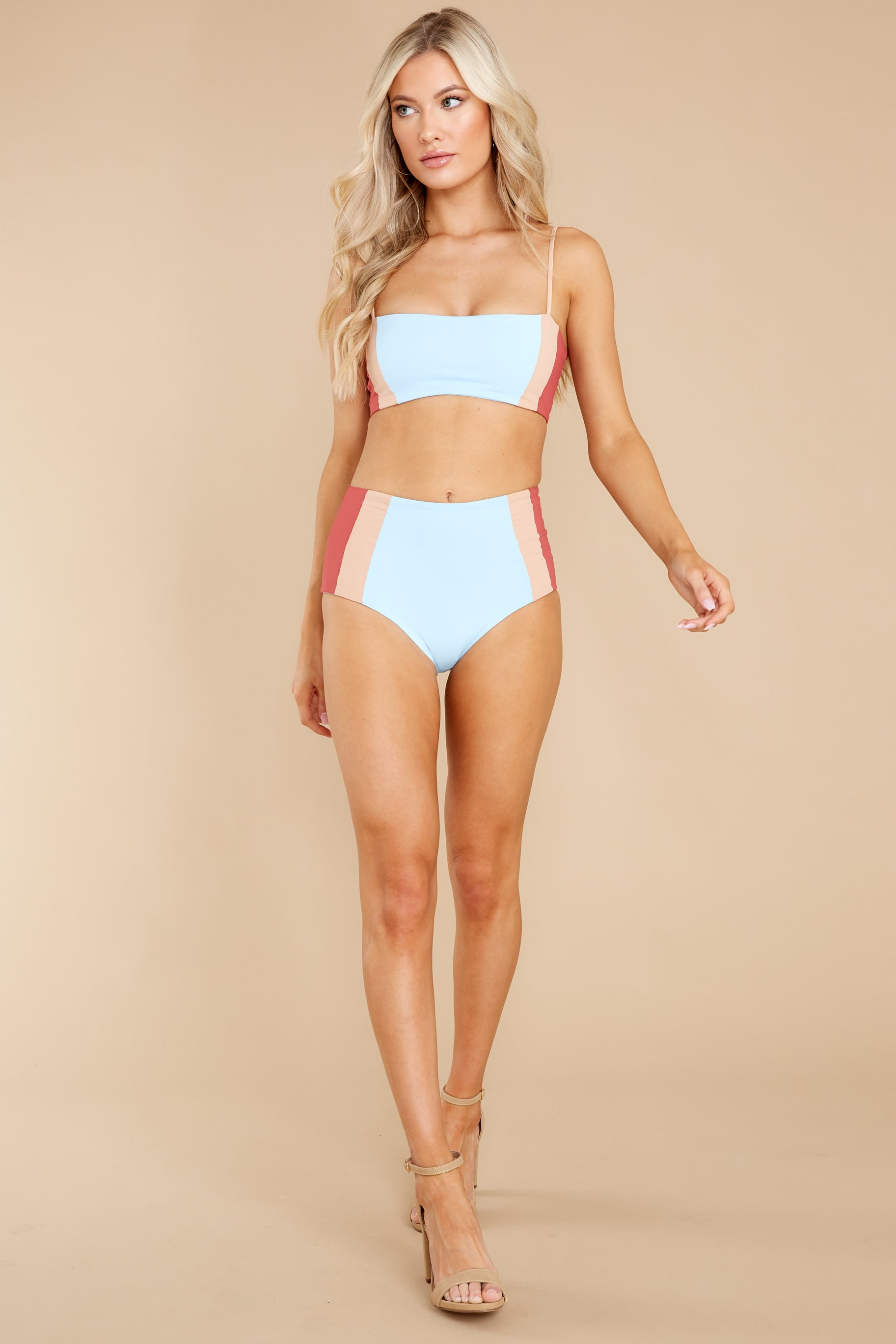 2 Rebel Heart Sky Blue And Brick Bikini Top at reddress.com