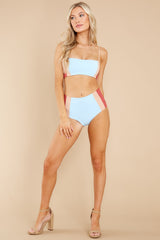 4 Rebel Heart Sky Blue And Brick Bikini Top at reddress.com