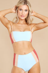 5 Rebel Heart Sky Blue And Brick Bikini Top at reddress.com